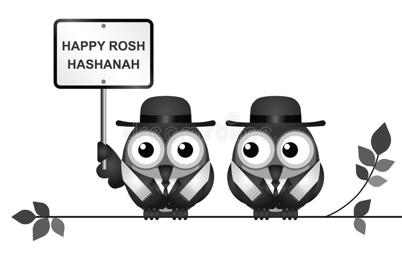 Jewish Rosh Hashanah Festival. Jewish Rosh Hashanah New Year festival with Jewish Rabi birds perched on a branch isolated on white background stock illustration
