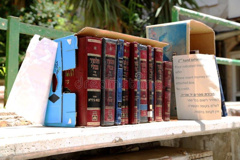 Jewish sacred books Torah on bookshelf library for read prayer at synagogue royalty free stock photos