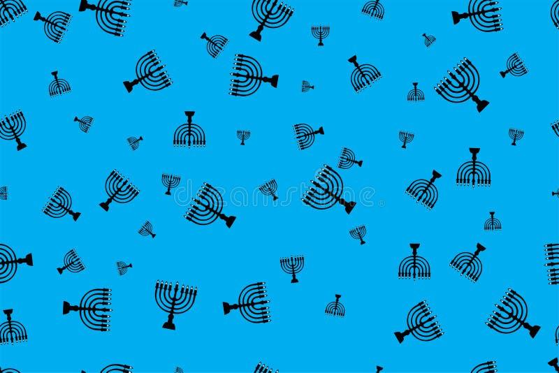 Pattern with menorah. Black menorah on a blue background vector illustration