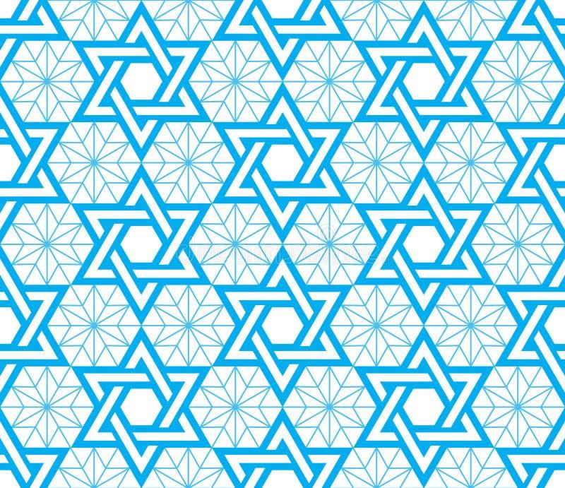 Jewish, Star of David blue seamless pattern. Judaic, Jewish religious symbol - David star background vector illustration