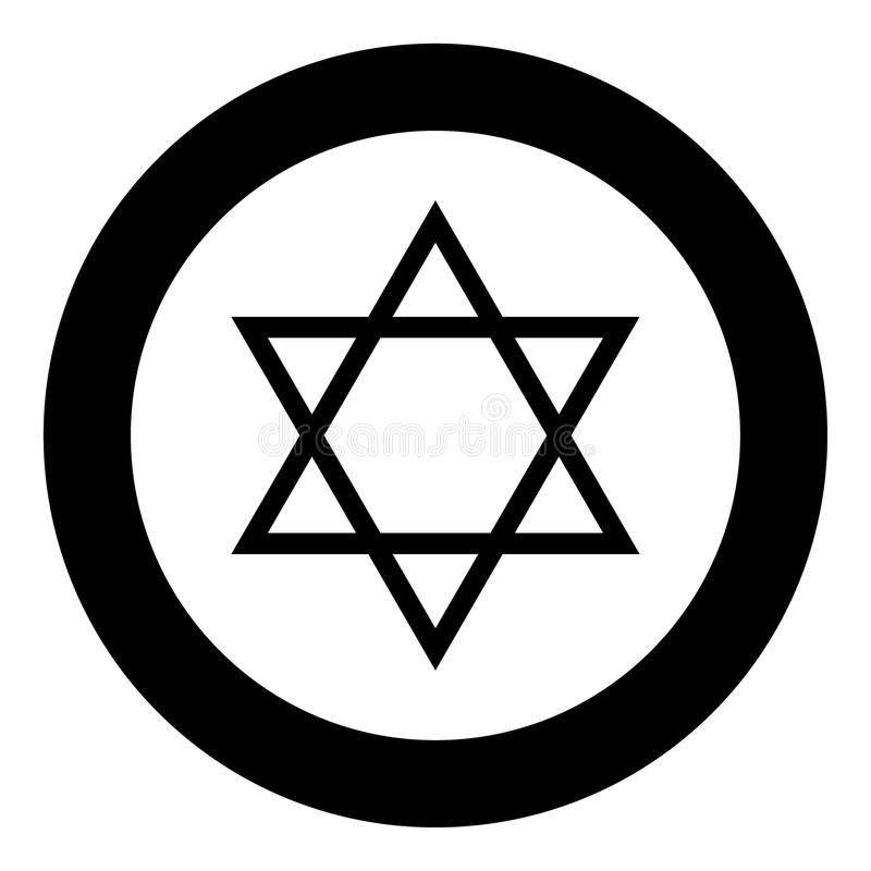 Jewish star of David icon black color in circle. Vector illustration isolated royalty free illustration
