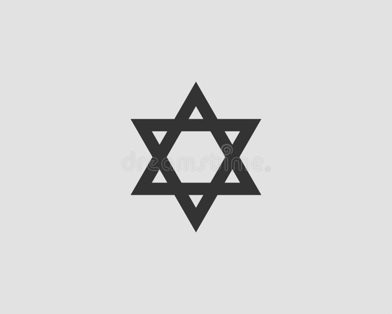 Jewish Star of David icon. Vector six pointed stars symbol royalty free illustration