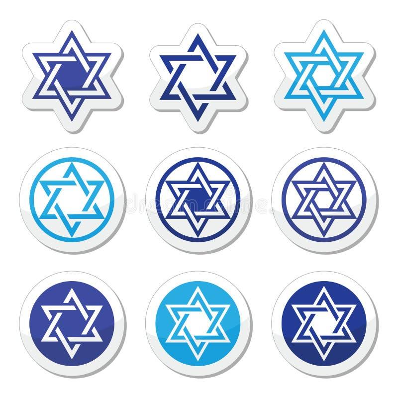 Jewish, Star of David icons set on white. Judaic, Jewish religious symbol - David star , icons set stock illustration