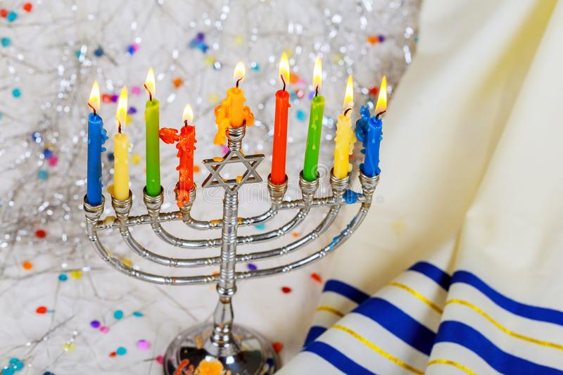 Jewish symbol jewish holiday Hanukkah with menorah traditional Candelabra. Jewish holiday, Holiday symbol royalty free stock photos