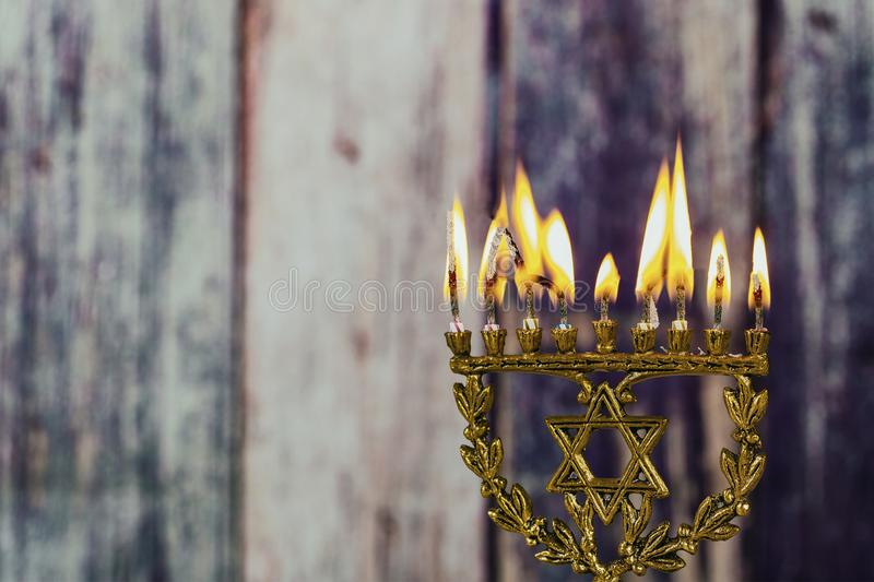 Jewish symbol jewish holiday Hanukkah with menorah traditional Candelabra. Jewish holiday, Holiday symbol stock photography