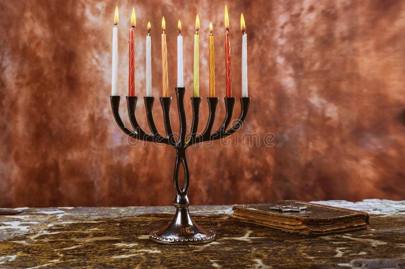 Jewish symbol jewish holiday Hanukkah with menorah traditional Candelabra. Jewish holiday, Holiday symbol stock image