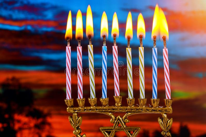 Jewish symbol jewish holiday Hanukkah with menorah traditional Candelabra. Jewish holiday, Holiday symbol royalty free stock photo