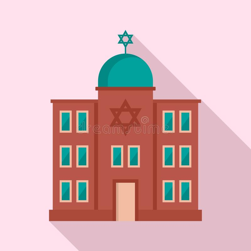 Jewish synagogue icon, flat style vector illustration