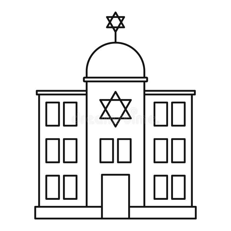 Jewish synagogue icon, outline style stock illustration