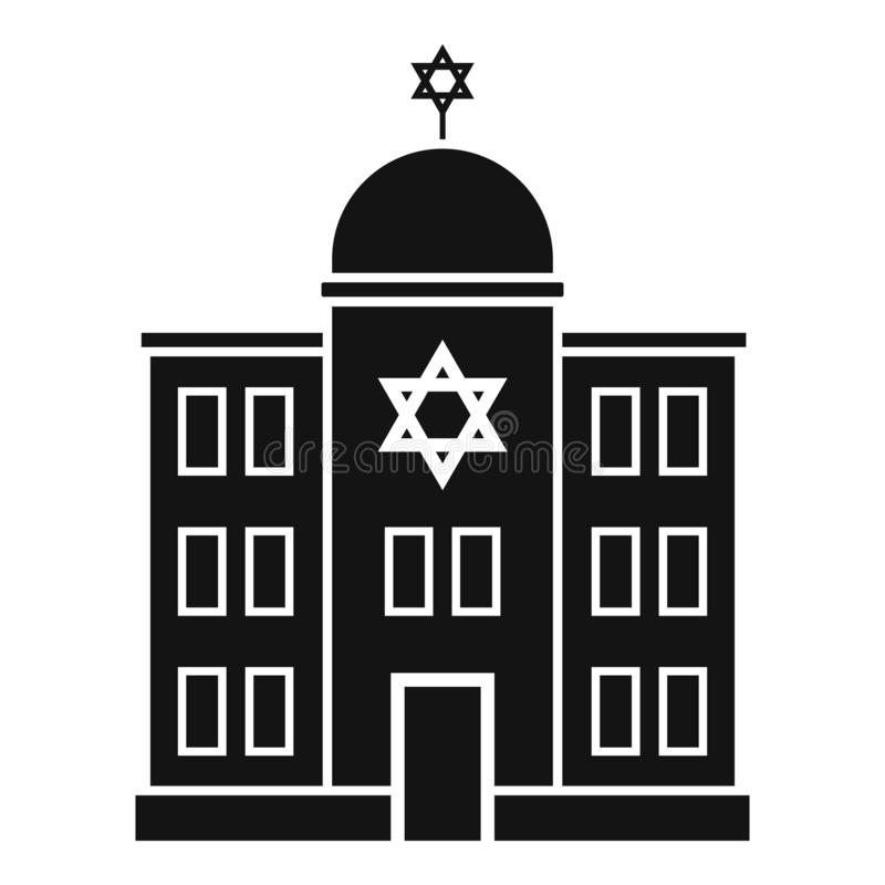 Asian Architecture Logo Icon Linear Style: Synagogue Icon , Vector Illustration, Black Sign