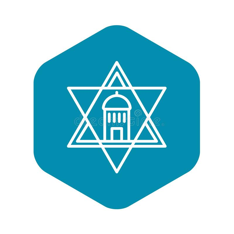 Jewish temple star icon, outline style. Jewish temple star icon. Outline jewish temple star vector icon for web design isolated on white background royalty free illustration