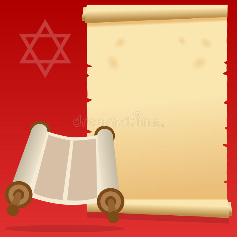 Jewish Torah Scroll and Old Parchment royalty free illustration