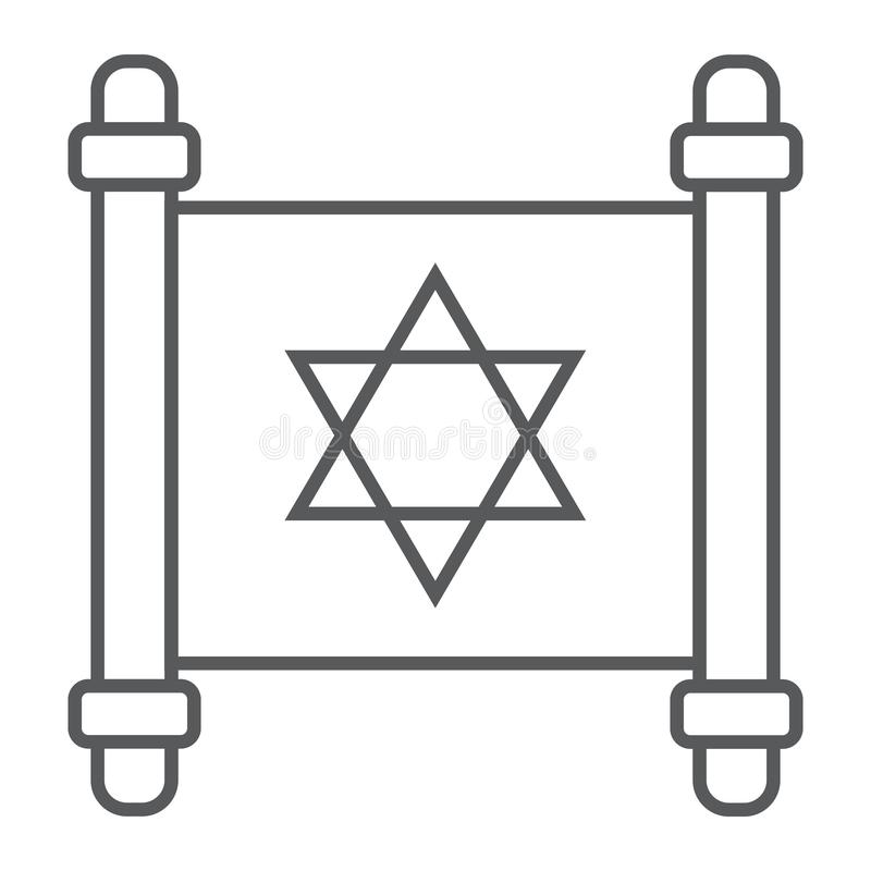 Jewish torah thin line icon, israel and paper, scroll sign, vector graphics, a linear pattern on a white background. royalty free illustration
