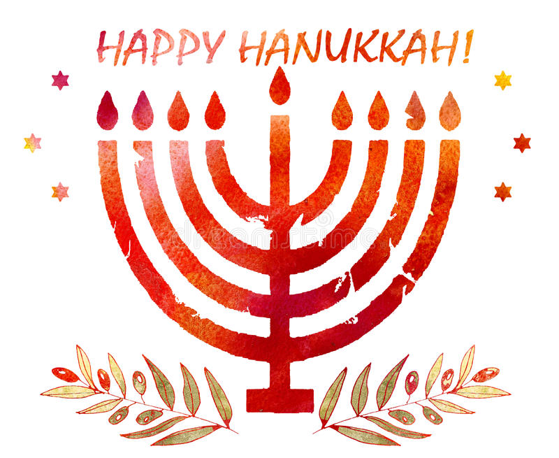 Jewish traditional holiday hannukahwatercolor greeting card stock download jewish traditional holiday hannukahwatercolor greeting card stock illustration illustration of chanukkah m4hsunfo