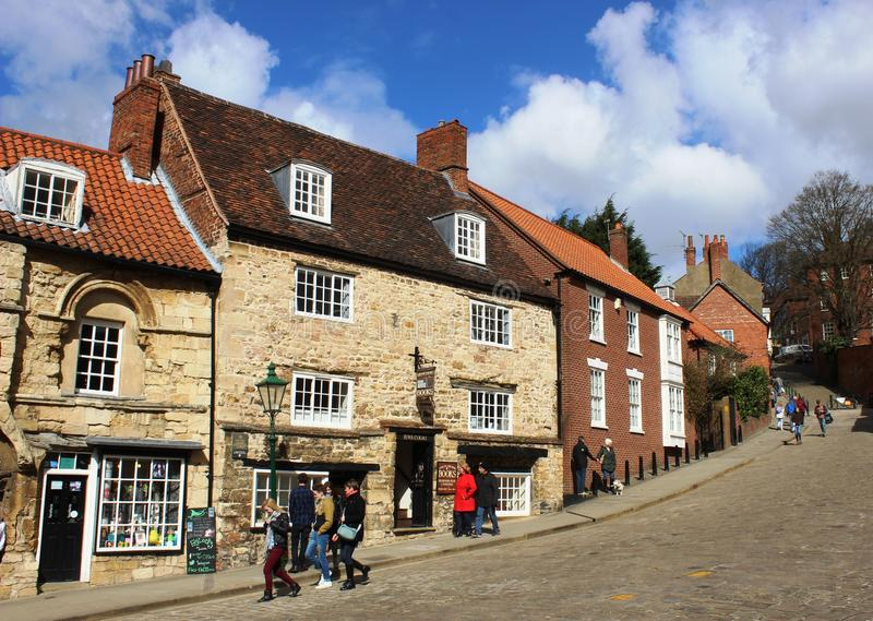 Jews Court, Book Shop on Steep Hill, Lincoln. Jews Court, Book Shop on Steep Hill, Lincoln, Lincolshire, England and is possibly the site of the oldest royalty free stock images