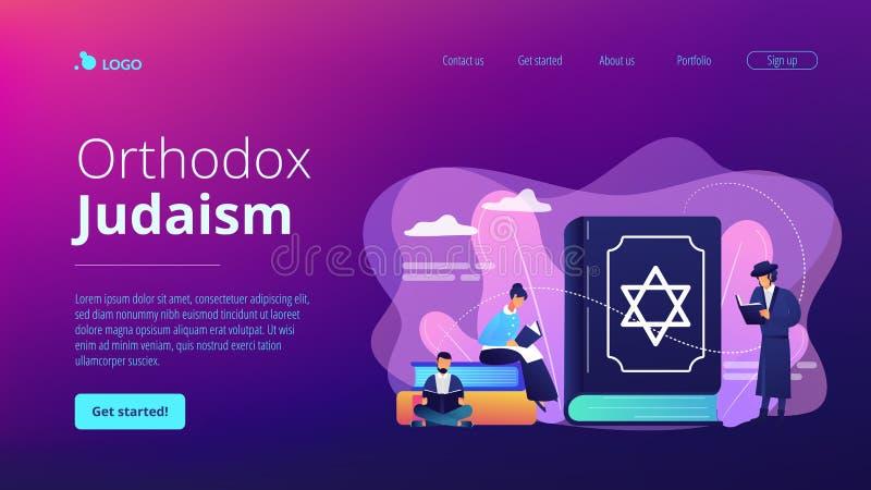Judaism concept landing page. stock illustration