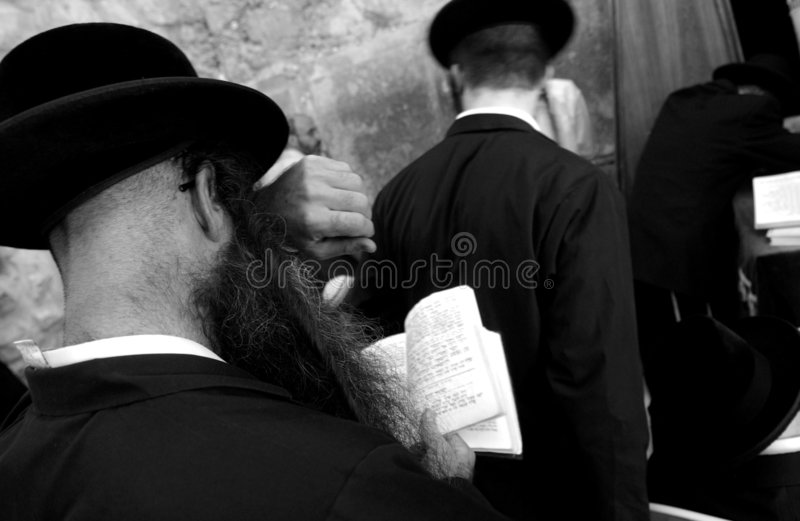 Jews at the wailing western wall, jerusalem, israe royalty free stock image