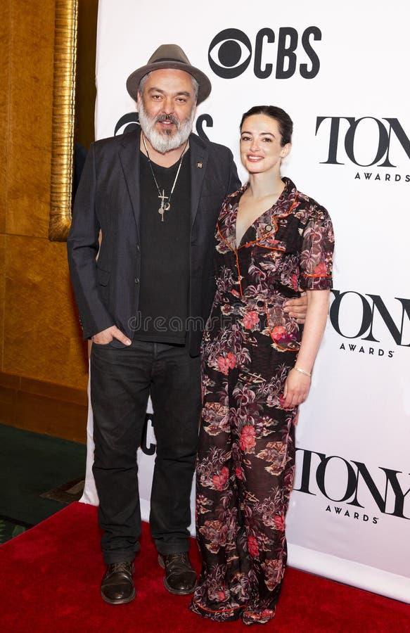 Jez Butterworth & Laura Donnelly bij 2019 Tony Awards Meet de Benoemden drukken Kwark stock fotografie
