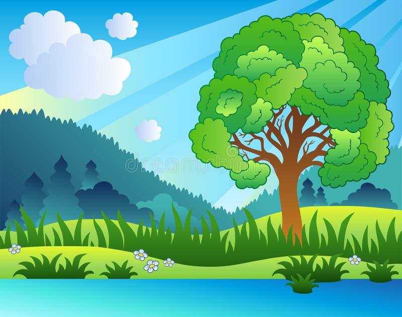 jeziora drzewo krajobrazowy obfitolistny ilustracja wektor