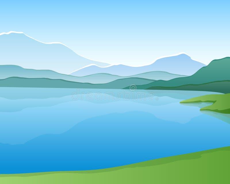 jeziorna góra ilustracja wektor