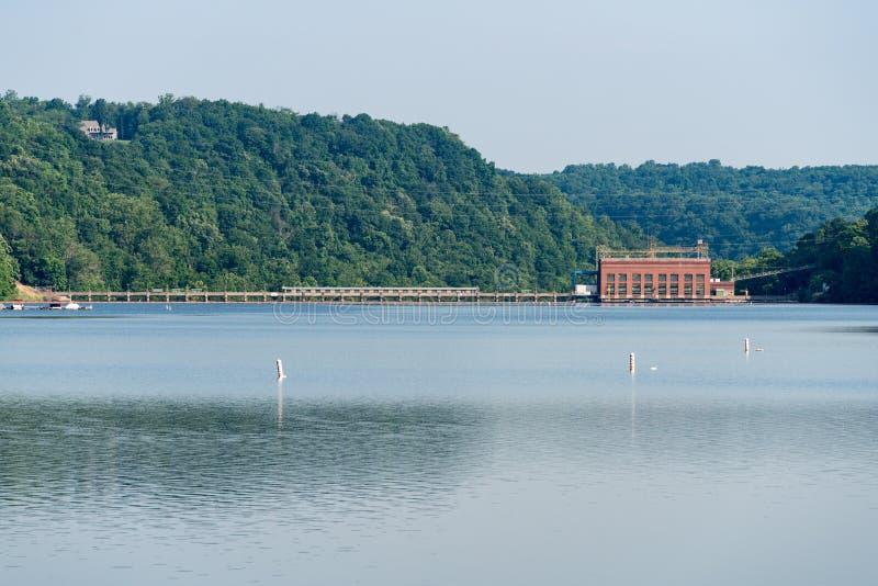 Jeziorna Lynn hydroelektryczna elektrownia Morgantown WV zdjęcie stock