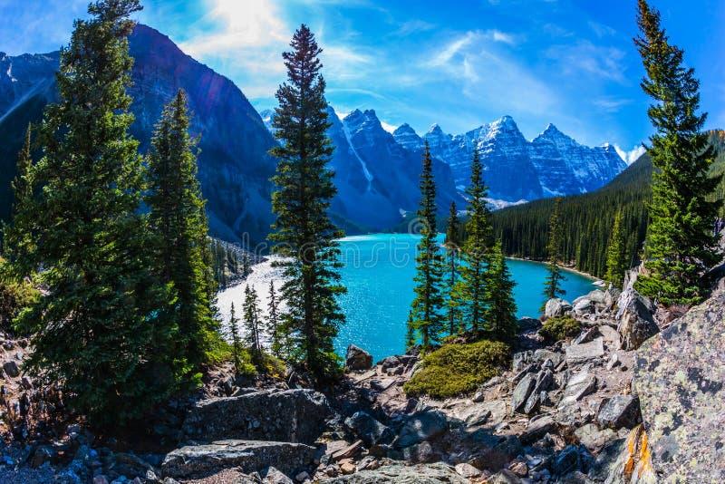 Jeziorna morena w Kanadyjskich Skalistych górach obrazy royalty free