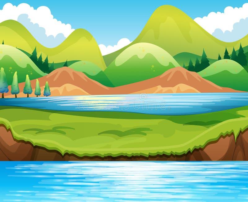 Jeziorna scena royalty ilustracja