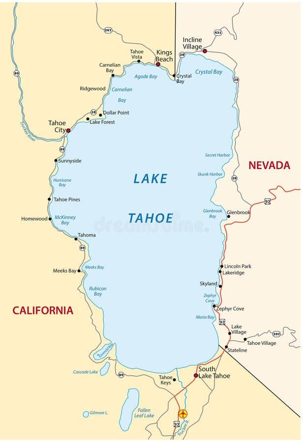 Jeziorna Tahoe mapa royalty ilustracja