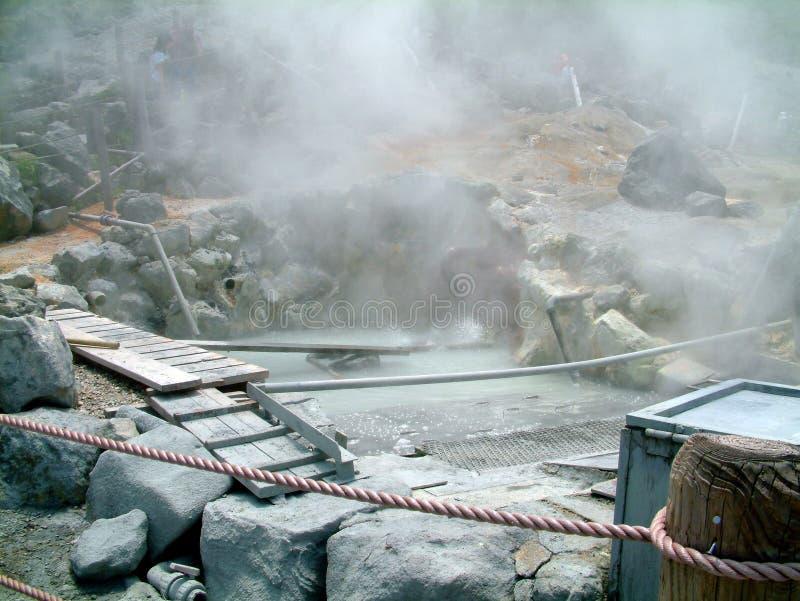 Jeziorne Ashi Gorące wiosny Japonia zdjęcie stock