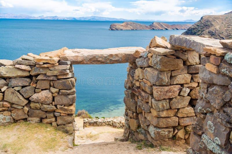 Jeziorne Titicaca ruiny zdjęcie stock