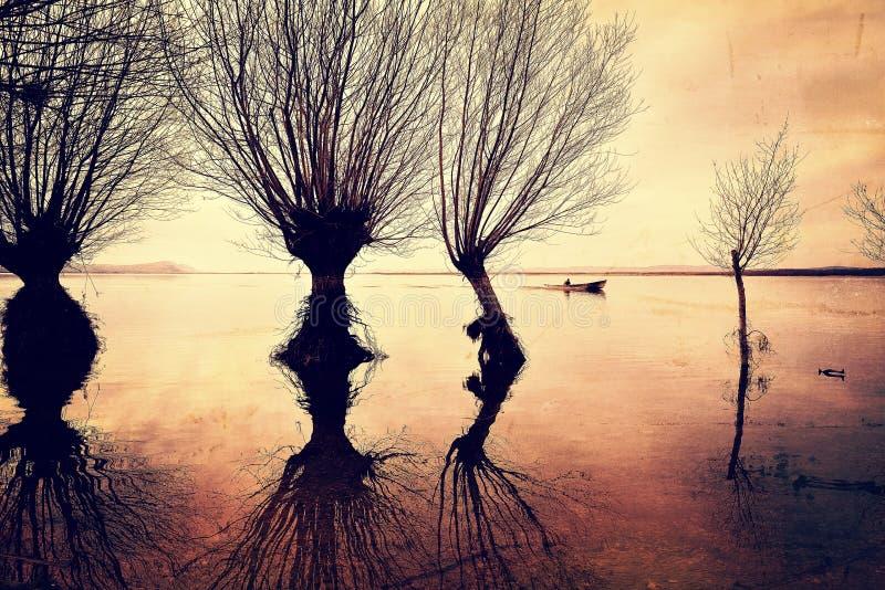 Jeziorni drzewa i łódź obraz royalty free