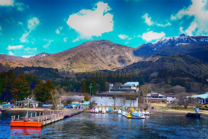 Jeziorny ashi i mt Komagatake, Hakone park narodowy, Jap fotografia stock