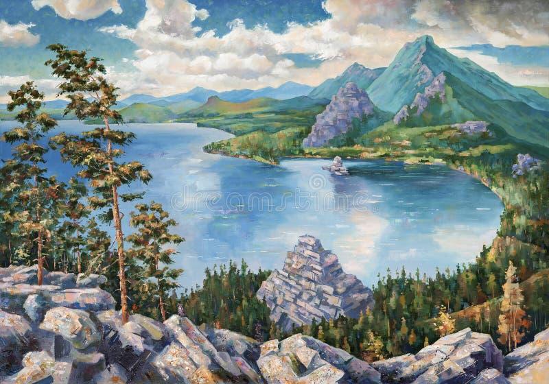 Jeziorny Borovoye w Kazachstan Obraz olejny na kanwie ilustracji