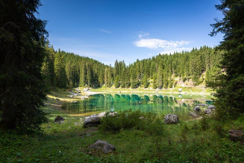 Jeziorny Carezza, dolomity, Włochy, 2016 obrazy stock