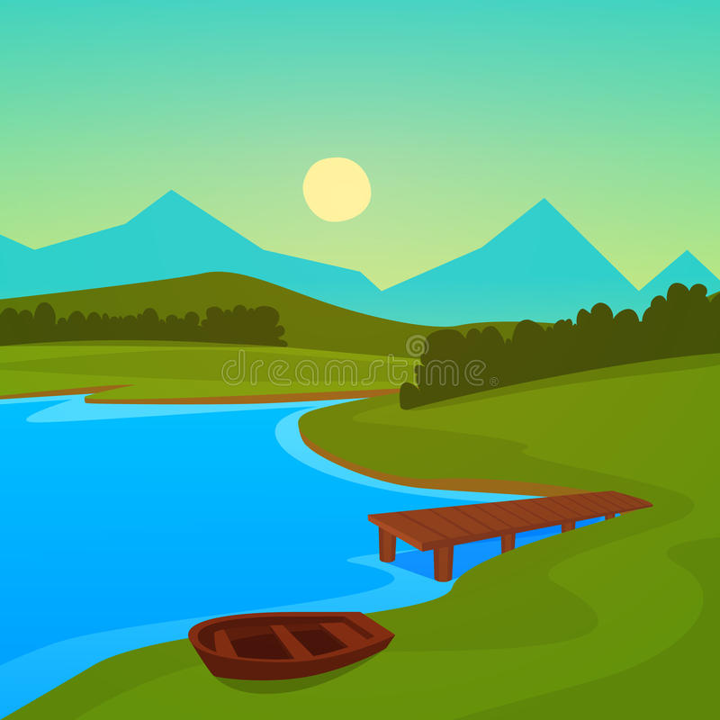 Jeziorny dok ilustracji