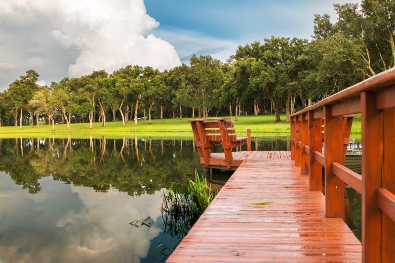 Jeziorny dok z odbiciem drzewa i chmury zdjęcia stock