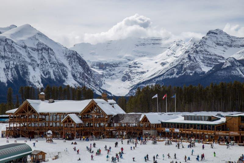 Jeziorny Louise ośrodek narciarski, kolumbiowie brytyjska, Kanada zdjęcia stock