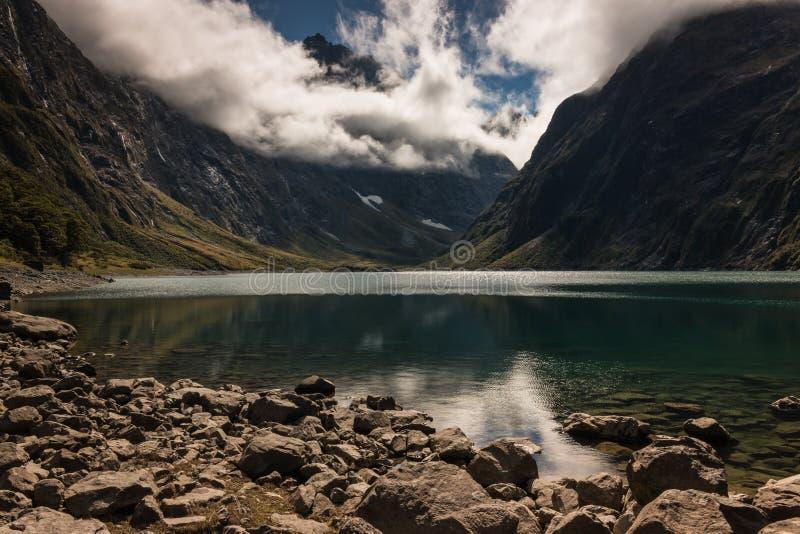 Jeziorny Mariański w Fiordland parku narodowym obraz royalty free