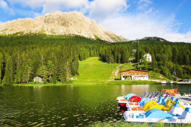 Jeziorny Misurina w Południowym Tyrol, Włochy obrazy royalty free