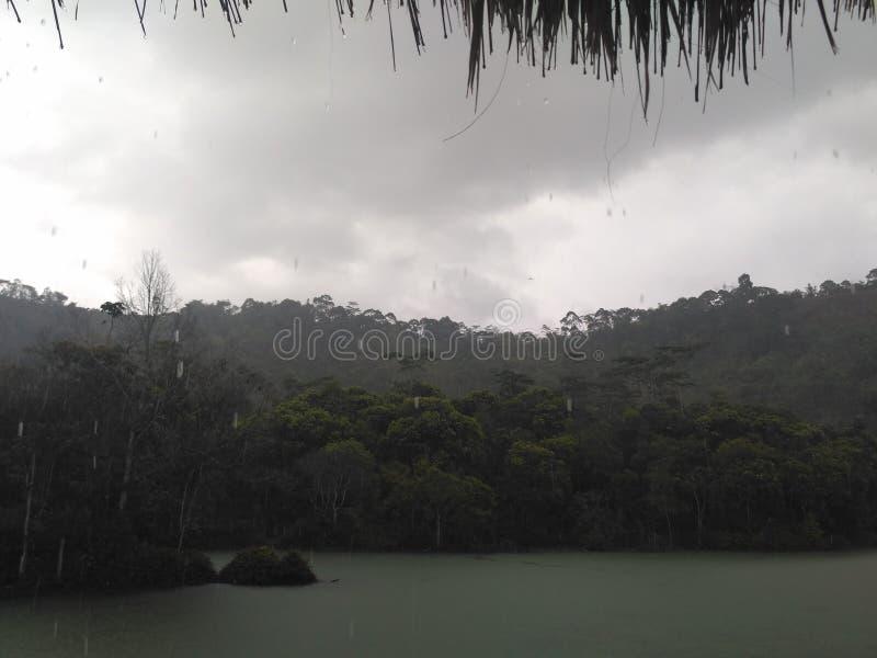 Jeziorny natury wody deszczu widok zdjęcia stock