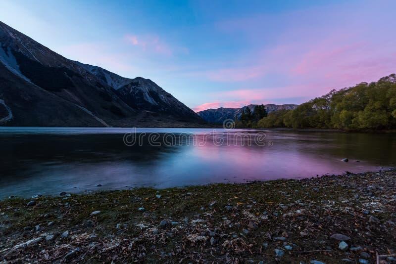 Jeziorny Pearson Arthur przepustki park narodowy, Nowa Zelandia zdjęcie royalty free