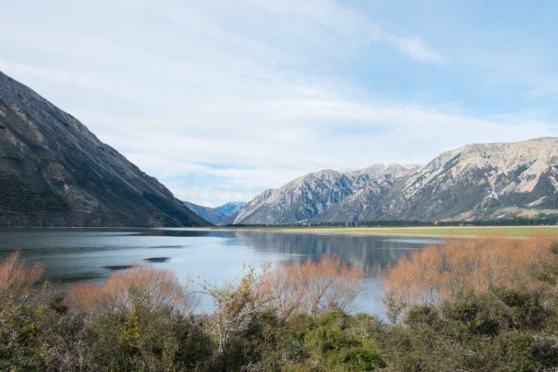 Jeziorny Pearson w chmurnym dniu, Nowa Zelandia (Moana Rua) zdjęcia royalty free