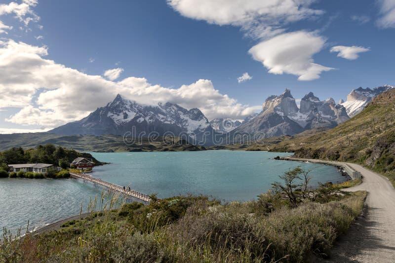 Jeziorny Pehoe, Torres Del Paine park narodowy, Patagonia, Chile zdjęcie royalty free