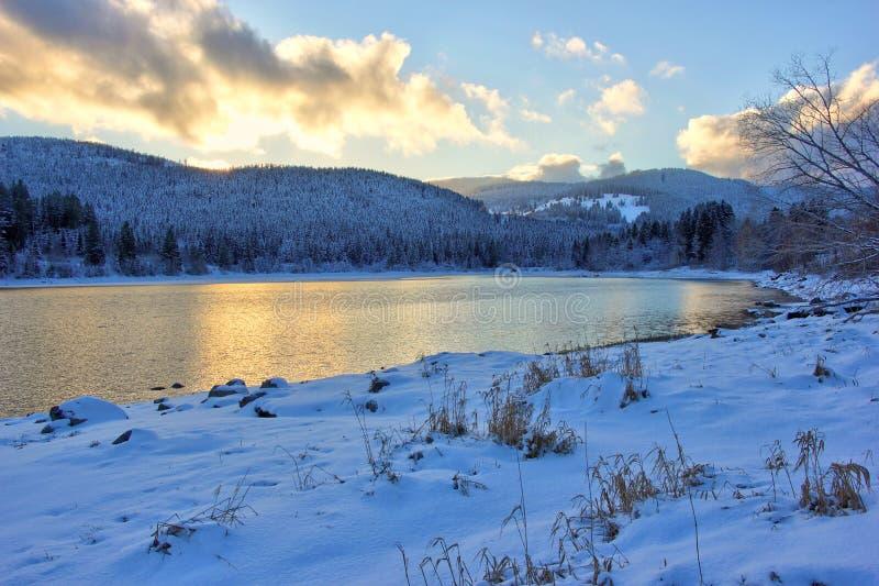 Jeziorny Schluchsee przy półmrokiem w zimie czarny las Germany obrazy stock