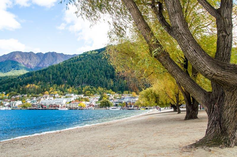 Jeziorny Wakatipu który lokalizuje w Queenstown, Nowa Zelandia obraz royalty free