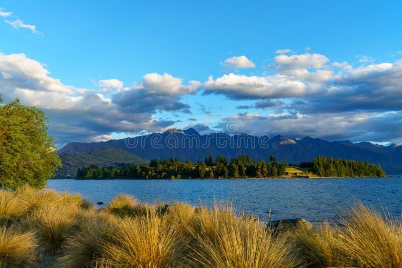 Jeziorny wakatipu w górach Queenstown, otago, nowy Zealand 4 obrazy royalty free