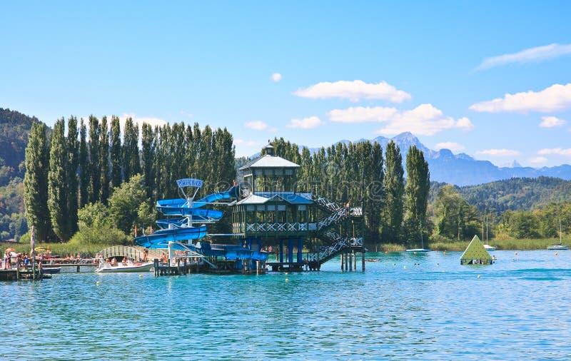 Jeziorny Warty (Worthersee). Austria fotografia royalty free