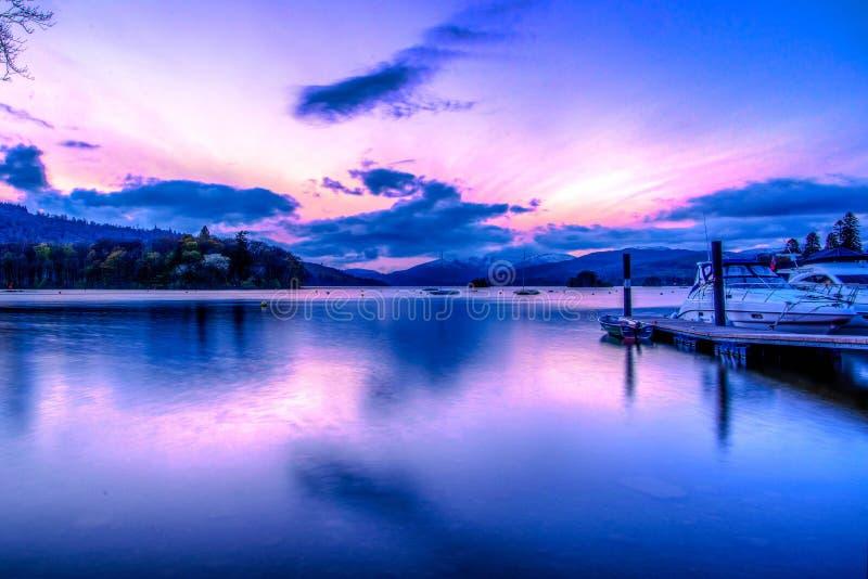 Jeziorny Windermere wschód słońca zdjęcia royalty free