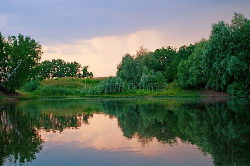 jeziorny zmierzch fotografia stock