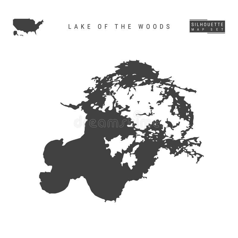Jezioro drewno Wektorowa mapa Odizolowywająca na Białym tle wyszczególniająca Czarna sylwetki mapa jezioro drewna royalty ilustracja